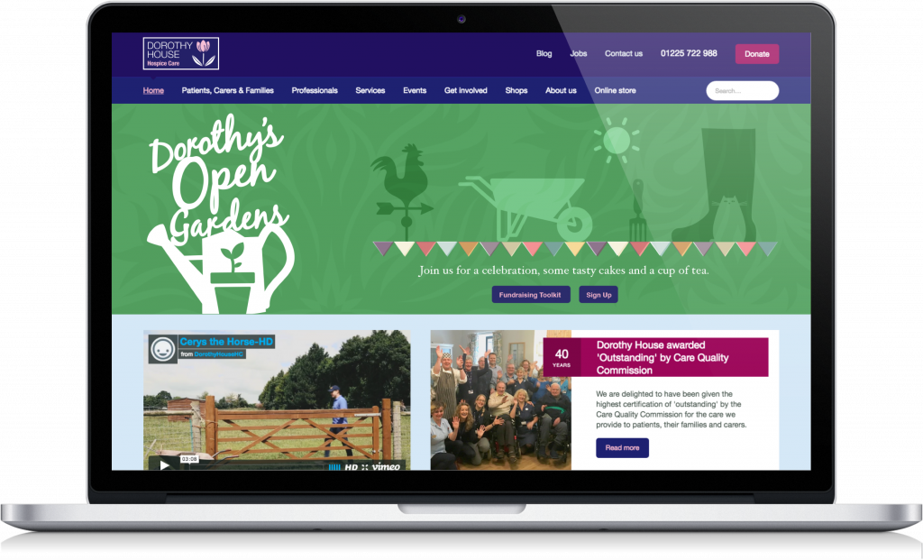 Banner design to promote the Dorothy's Open Gardens fundraising event.